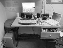 My desk, complete with snack drawer