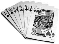 A hand of seven playing cards